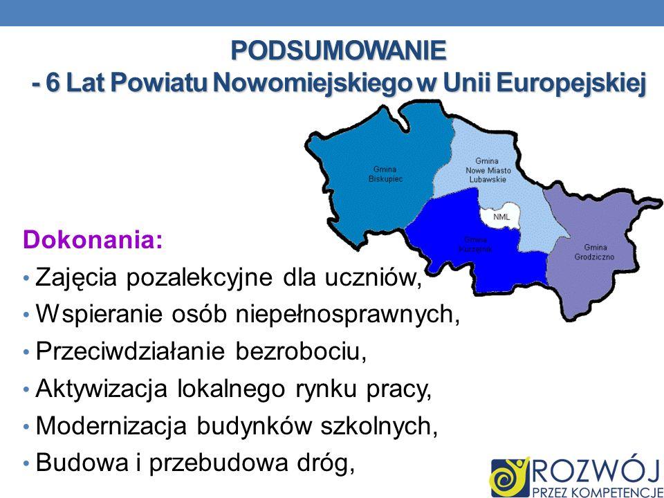 PODSUMOWANIE - 6 Lat Powiatu Nowomiejskiego w Unii Europejskiej Dokonania: Zajęcia pozalekcyjne dla uczniów, Wspieranie osób niepełnosprawnych, Przeci