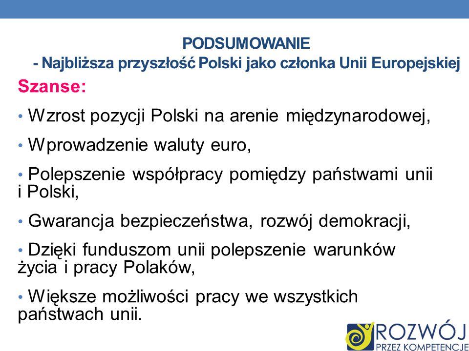 PODSUMOWANIE - Najbliższa przyszłość Polski jako członka Unii Europejskiej Szanse: Wzrost pozycji Polski na arenie międzynarodowej, Wprowadzenie walut