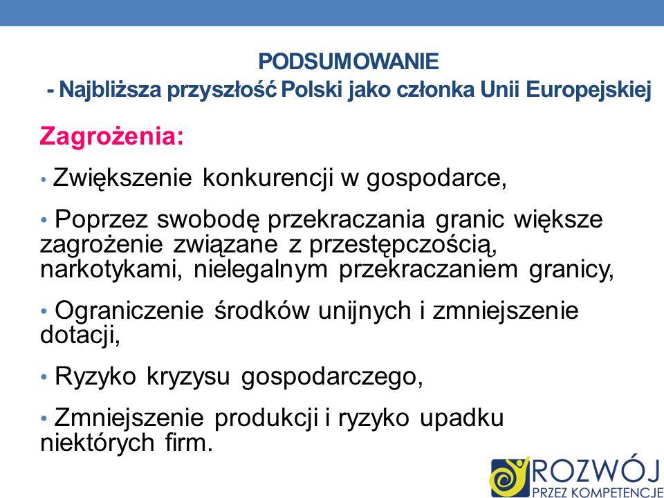 PODSUMOWANIE - Najbliższa przyszłość Polski jako członka Unii Europejskiej Zagrożenia: Zwiększenie konkurencji w gospodarce, Poprzez swobodę przekracz