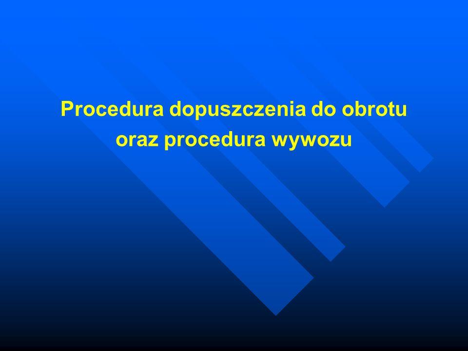 Procedura dopuszczenia do obrotu oraz procedura wywozu