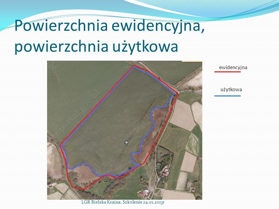 Powierzchnia ewidencyjna, powierzchnia użytkowa LGR Bielska Kraina, Szkolenie 24.01.2013r ewidencyjna użytkowa