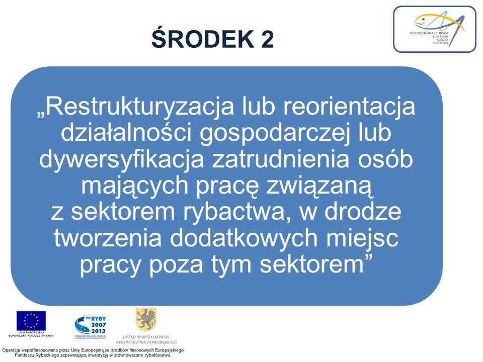 ŚRODEK 2 Restrukturyzacja lub reorientacja działalności gospodarczej lub dywersyfikacja zatrudnienia osób mających pracę związaną z sektorem rybactwa, w drodze tworzenia dodatkowych miejsc pracy poza tym sektorem