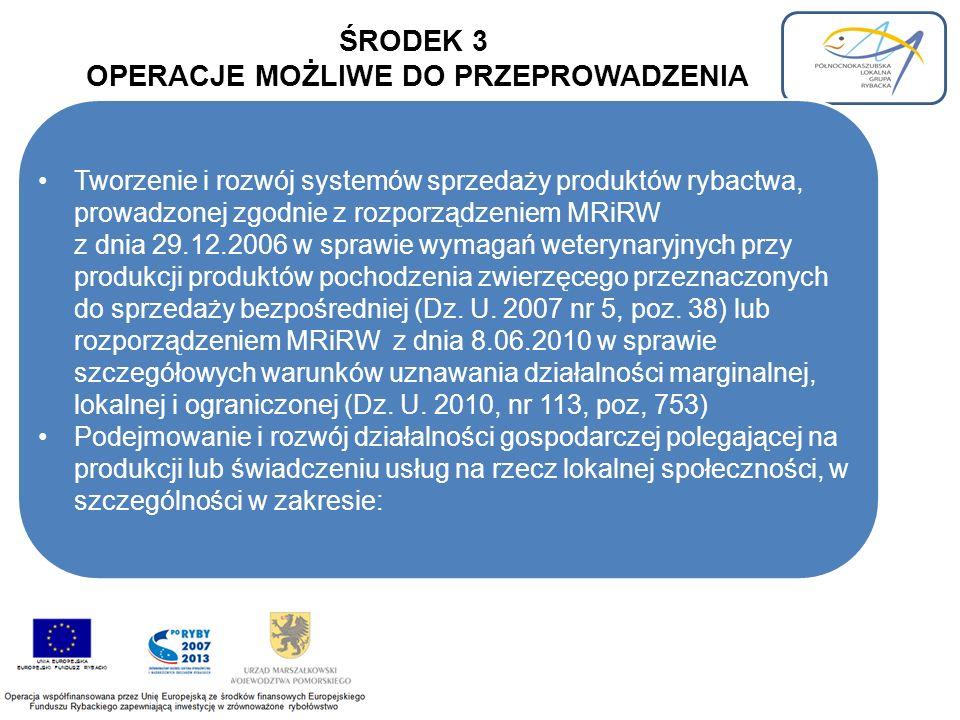 ŚRODEK 3 OPERACJE MOŻLIWE DO PRZEPROWADZENIA Tworzenie i rozwój systemów sprzedaży produktów rybactwa, prowadzonej zgodnie z rozporządzeniem MRiRW z dnia 29.12.2006 w sprawie wymagań weterynaryjnych przy produkcji produktów pochodzenia zwierzęcego przeznaczonych do sprzedaży bezpośredniej (Dz.