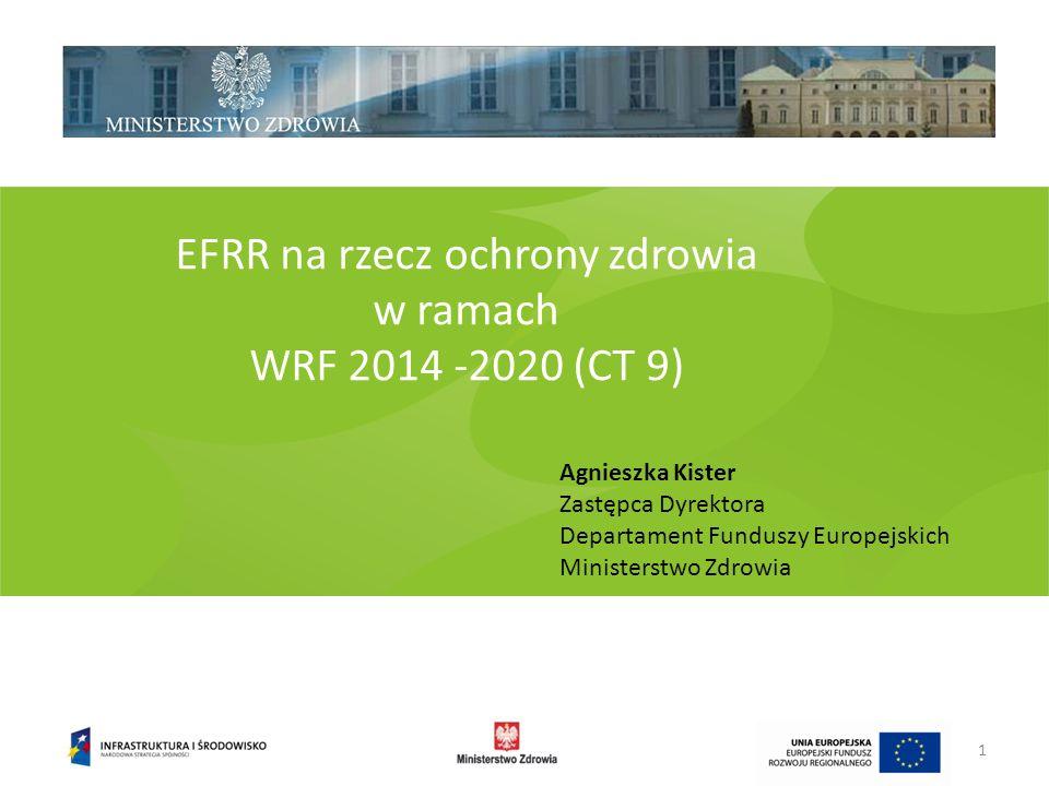 EFRR na rzecz ochrony zdrowia w ramach WRF 2014 -2020 (CT 9) Agnieszka Kister Zastępca Dyrektora Departament Funduszy Europejskich Ministerstwo Zdrowi