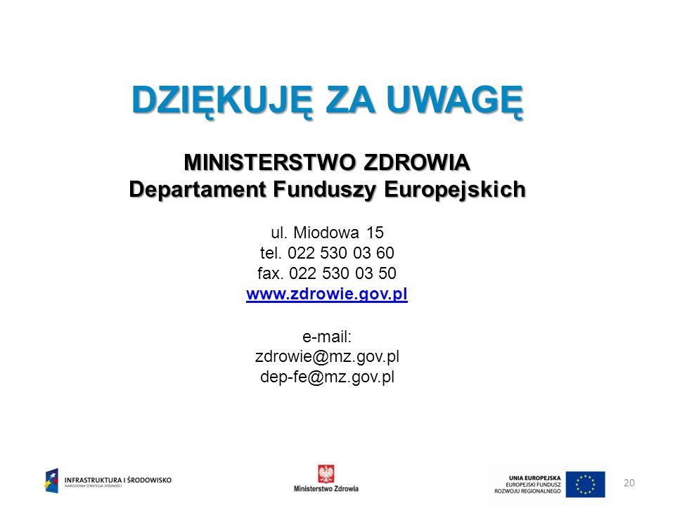 XII. Linia demarkacyjna DZIĘKUJĘ ZA UWAGĘ MINISTERSTWO ZDROWIA Departament Funduszy Europejskich ul. Miodowa 15 tel. 022 530 03 60 fax. 022 530 03 50