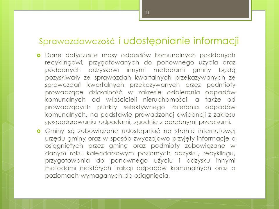 Sprawozdawczość i udostępnianie informacji Dane dotyczące masy odpadów komunalnych poddanych recyklingowi, przygotowanych do ponownego użycia oraz pod