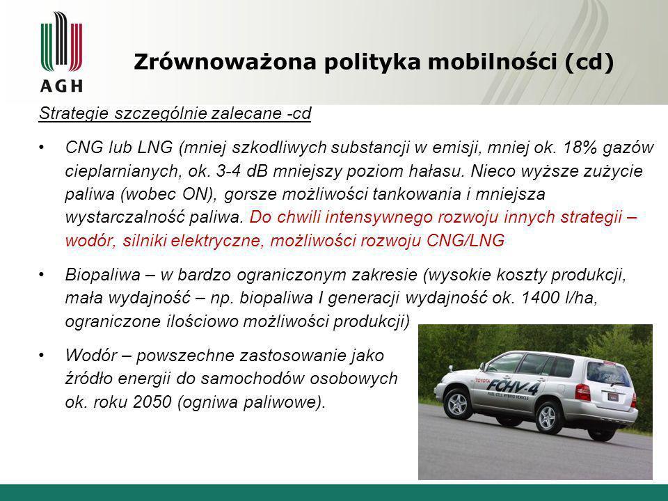 Zrównoważona polityka mobilności (cd) Strategie szczególnie zalecane -cd CNG lub LNG (mniej szkodliwych substancji w emisji, mniej ok. 18% gazów ciepl