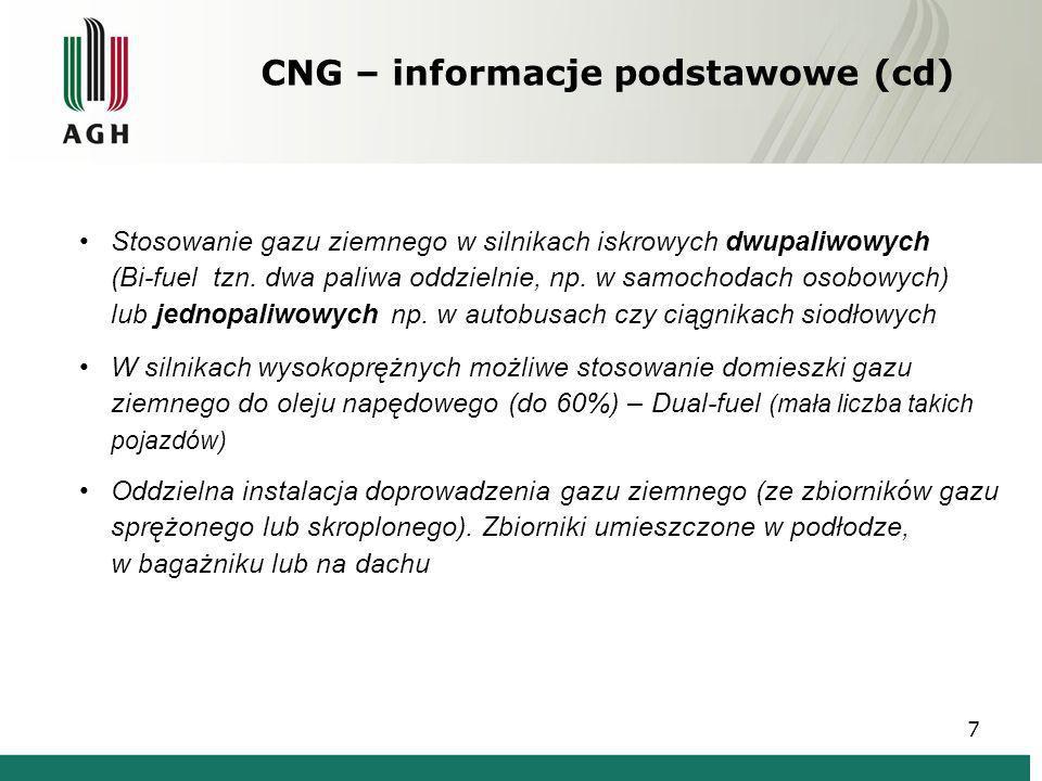CNG – informacje podstawowe (cd) Stosowanie gazu ziemnego w silnikach iskrowych dwupaliwowych (Bi-fuel tzn. dwa paliwa oddzielnie, np. w samochodach o