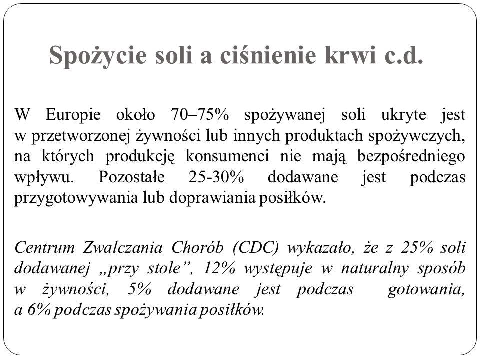 Spożycie soli a ciśnienie krwi c.d. W Europie około 70–75% spożywanej soli ukryte jest w przetworzonej żywności lub innych produktach spożywczych, na