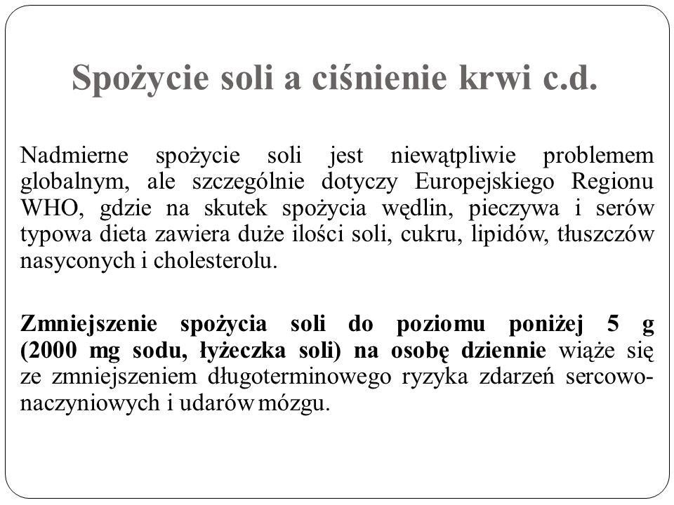 Spożycie soli a ciśnienie krwi c.d. Nadmierne spożycie soli jest niewątpliwie problemem globalnym, ale szczególnie dotyczy Europejskiego Regionu WHO,