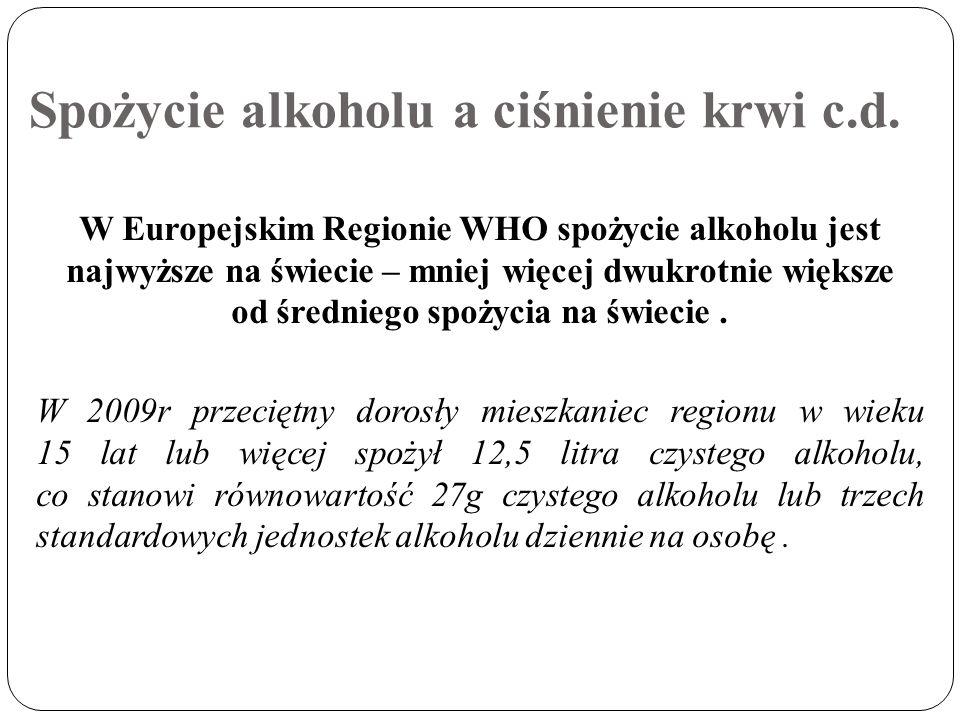 Spożycie alkoholu a ciśnienie krwi c.d. W Europejskim Regionie WHO spożycie alkoholu jest najwyższe na świecie – mniej więcej dwukrotnie większe od śr