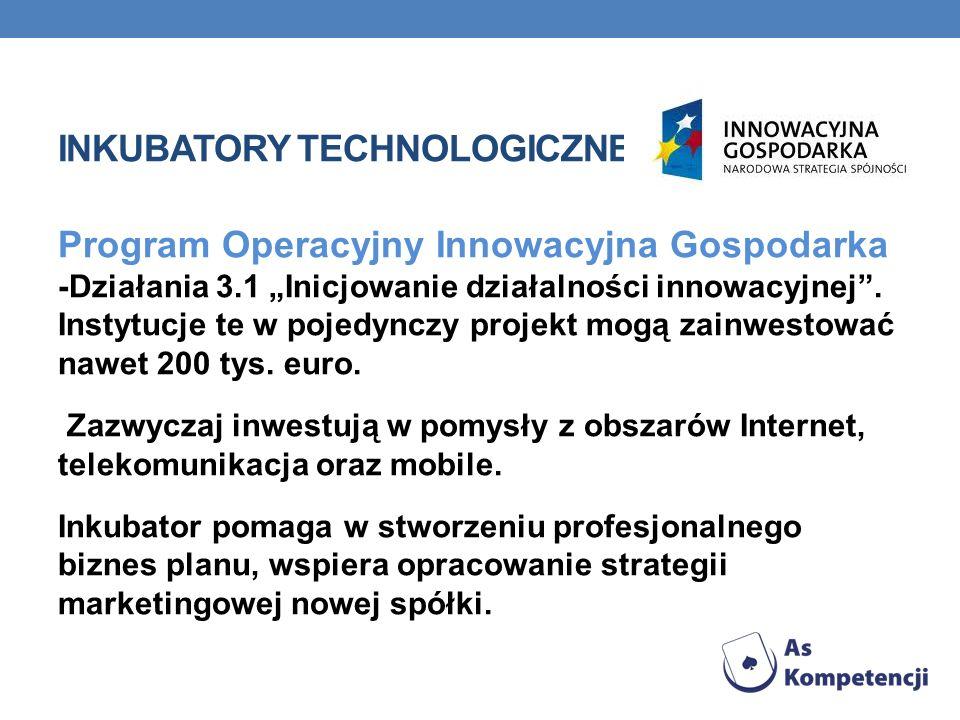 Program Operacyjny Innowacyjna Gospodarka -Działania 3.1 Inicjowanie działalności innowacyjnej.