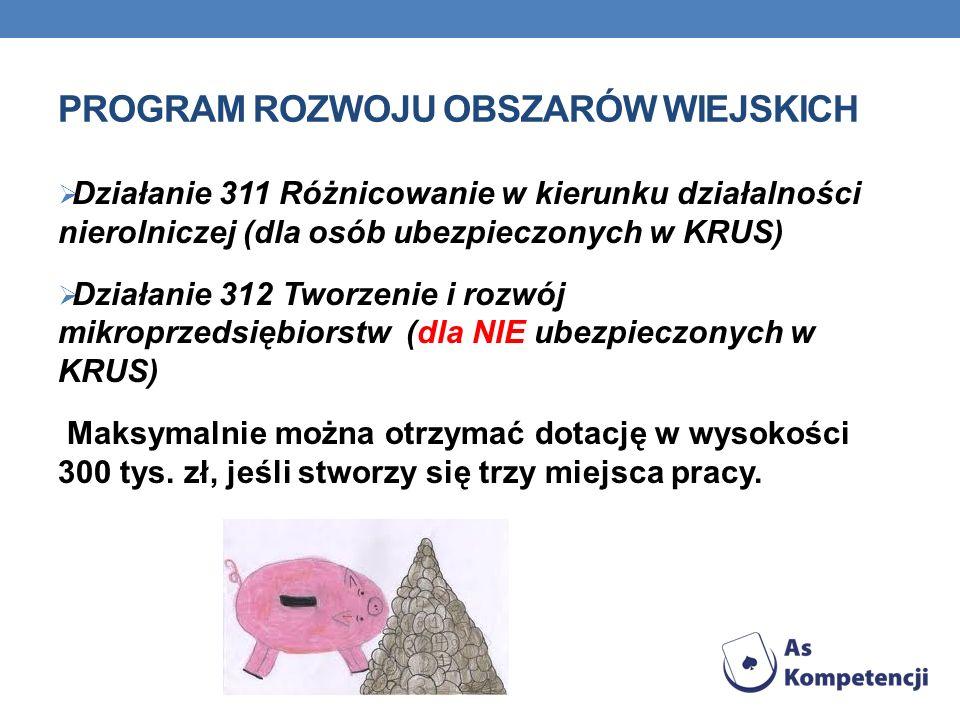 PROGRAM ROZWOJU OBSZARÓW WIEJSKICH Działanie 311 Różnicowanie w kierunku działalności nierolniczej (dla osób ubezpieczonych w KRUS) Działanie 312 Tworzenie i rozwój mikroprzedsiębiorstw (dla NIE ubezpieczonych w KRUS) Maksymalnie można otrzymać dotację w wysokości 300 tys.