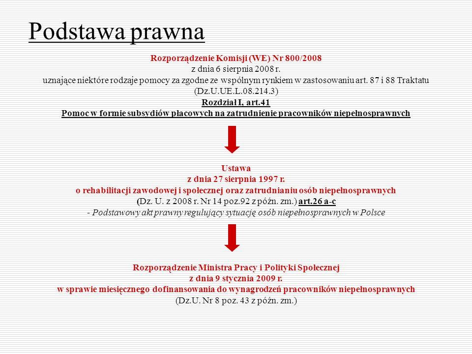Podstawa prawna Rozporządzenie Komisji (WE) Nr 800/2008 z dnia 6 sierpnia 2008 r.