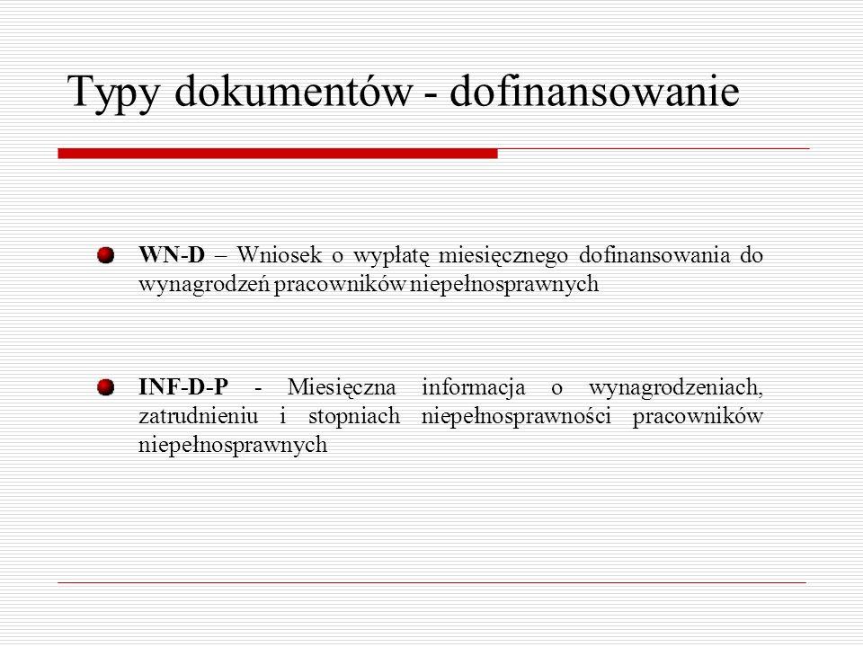 Typy dokumentów - dofinansowanie WN-D – Wniosek o wypłatę miesięcznego dofinansowania do wynagrodzeń pracowników niepełnosprawnych INF-D-P - Miesięczna informacja o wynagrodzeniach, zatrudnieniu i stopniach niepełnosprawności pracowników niepełnosprawnych