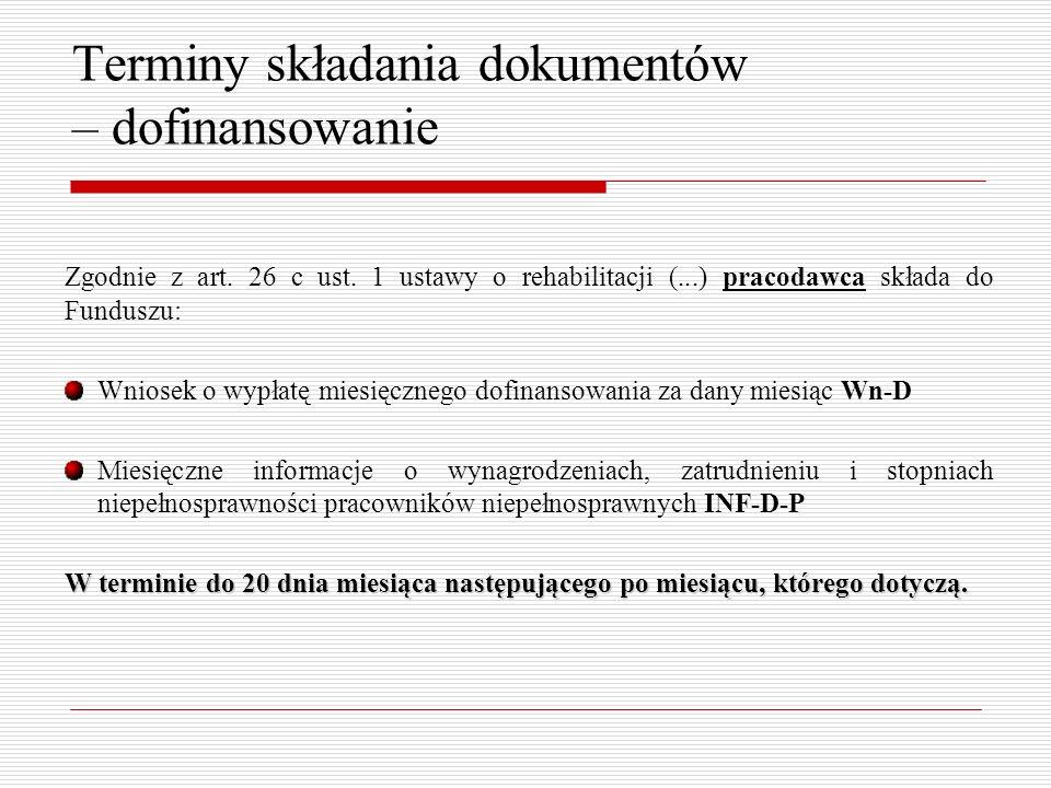 Terminy składania dokumentów – dofinansowanie Zgodnie z art.