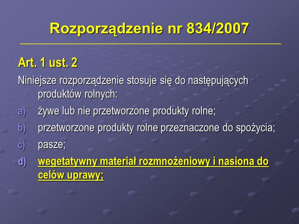 Rozporządzenie nr 834/2007 Art. 1 ust. 2 Niniejsze rozporządzenie stosuje się do następujących produktów rolnych: a) żywe lub nie przetworzone produkt