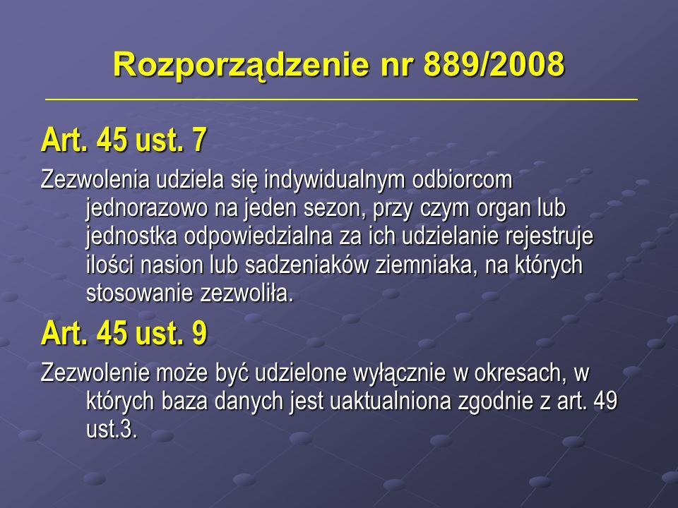 Rozporządzenie nr 889/2008 Art. 45 ust. 7 Zezwolenia udziela się indywidualnym odbiorcom jednorazowo na jeden sezon, przy czym organ lub jednostka odp