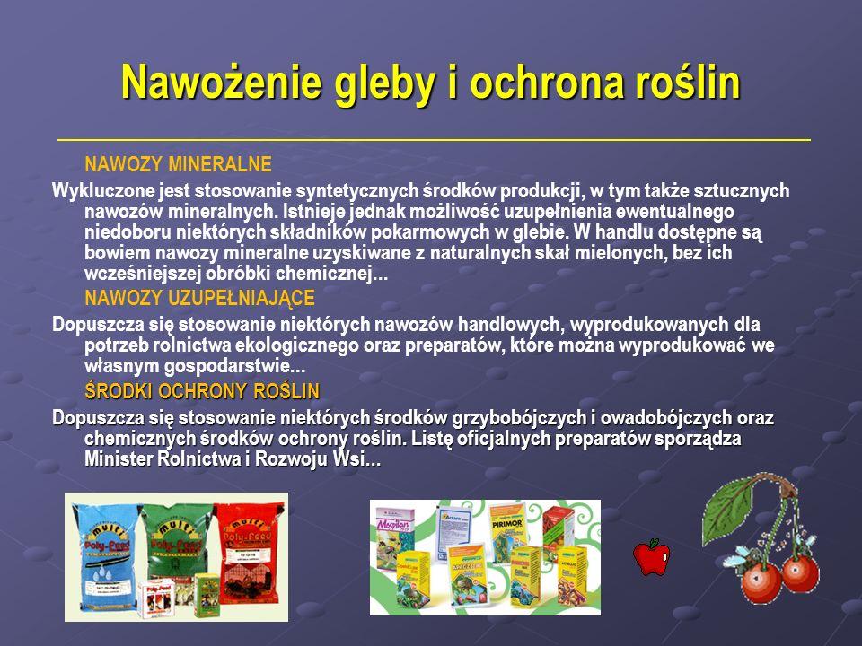 Nawożenie gleby i ochrona roślin NAWOZY MINERALNE Wykluczone jest stosowanie syntetycznych środków produkcji, w tym także sztucznych nawozów mineralny