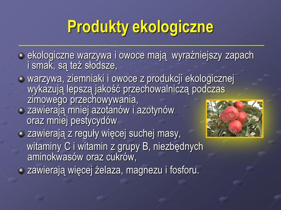 Produkty ekologiczne ekologiczne warzywa i owoce mają wyraźniejszy zapach i smak, są też słodsze, warzywa, ziemniaki i owoce z produkcji ekologicznej wykazują lepszą jakość przechowalniczą podczas zimowego przechowywania, zawierają mniej azotanów i azotynów zawierają mniej azotanów i azotynów oraz mniej pestycydów oraz mniej pestycydów zawierają z reguły więcej suchej masy, witaminy C i witamin z grupy B, niezbędnych aminokwasów oraz cukrów, witaminy C i witamin z grupy B, niezbędnych aminokwasów oraz cukrów, zawierają więcej żelaza, magnezu i fosforu.