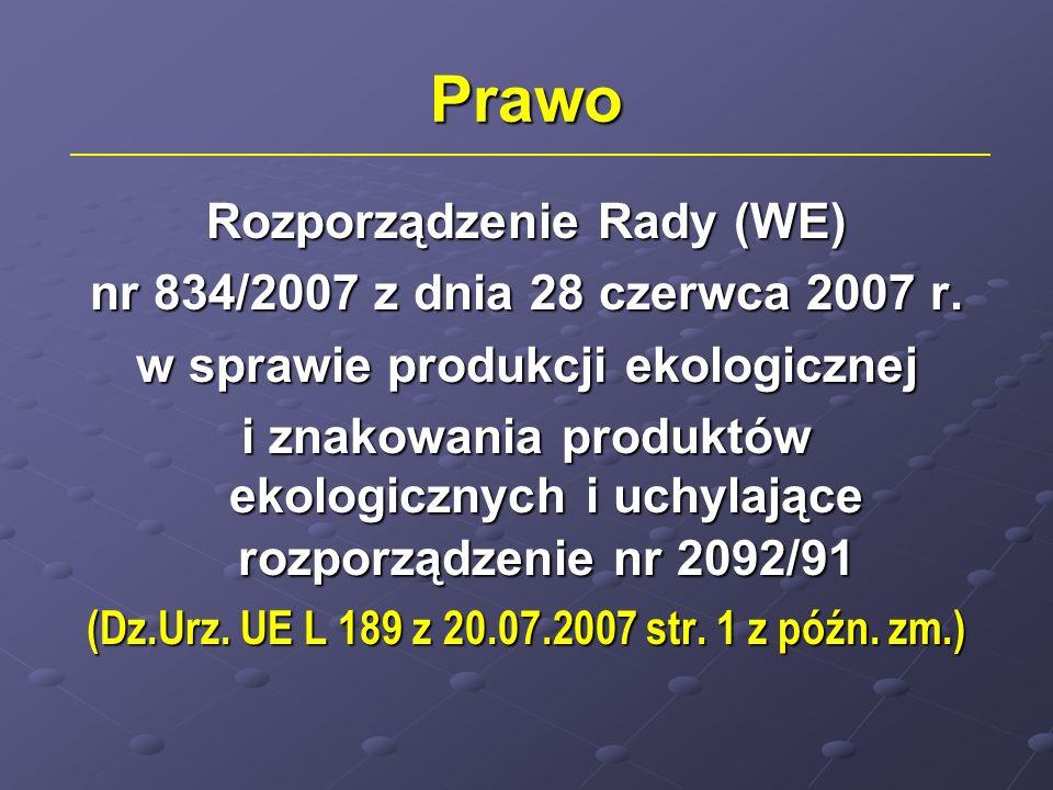 Prawo Rozporządzenie Rady (WE) nr 834/2007 z dnia 28 czerwca 2007 r.