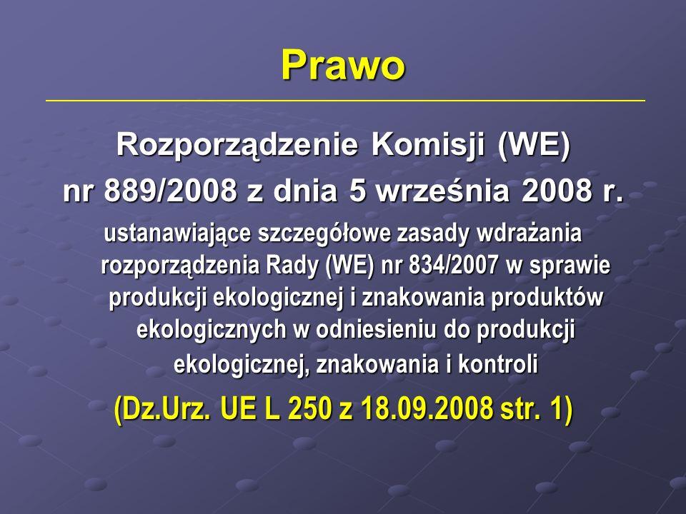 Prawo Rozporządzenie Komisji (WE) nr 889/2008 z dnia 5 września 2008 r. ustanawiające szczegółowe zasady wdrażania rozporządzenia Rady (WE) nr 834/200