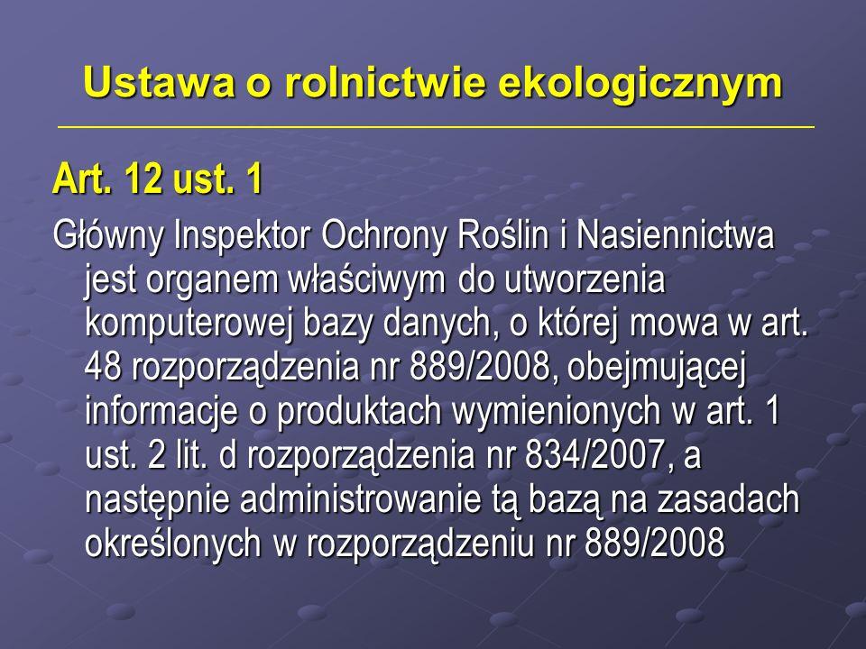 Ustawa o rolnictwie ekologicznym Art.12 ust.