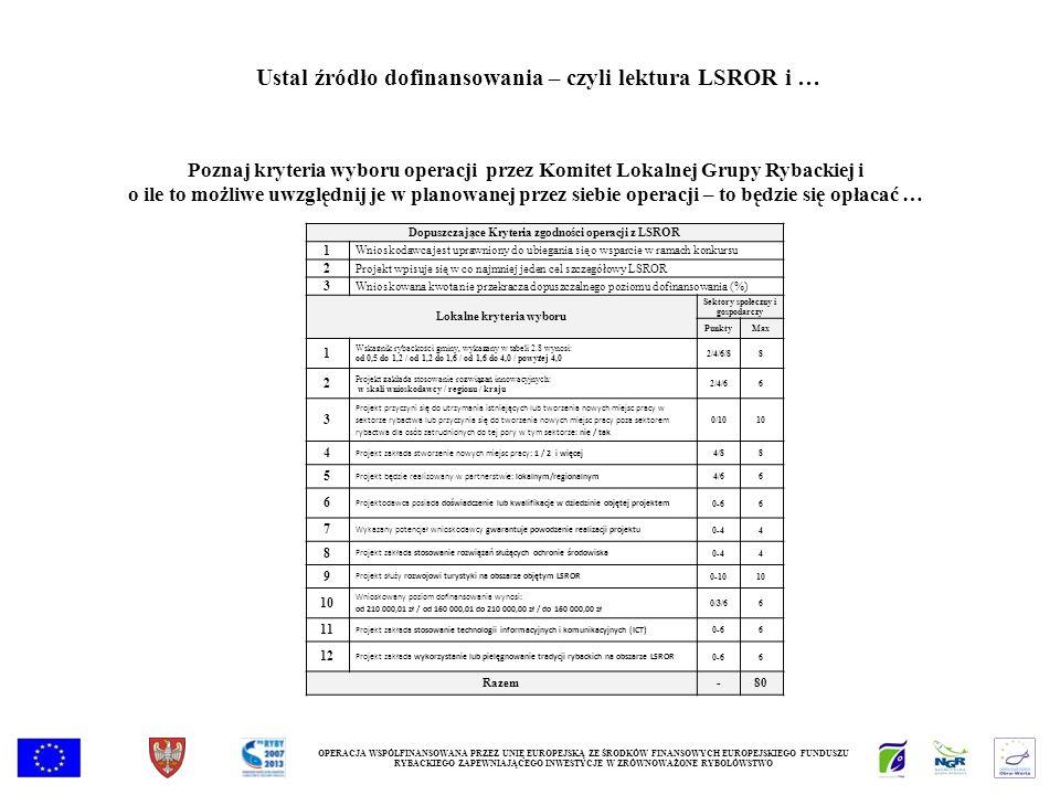 Poznaj kryteria wyboru operacji przez Komitet Lokalnej Grupy Rybackiej i o ile to możliwe uwzględnij je w planowanej przez siebie operacji – to będzie się opłacać … OPERACJA WSPÓŁFINANSOWANA PRZEZ UNIĘ EUROPEJSKĄ ZE ŚRODKÓW FINANSOWYCH EUROPEJSKIEGO FUNDUSZU RYBACKIEGO ZAPEWNIAJĄCEGO INWESTYCJE W ZRÓWNOWAŻONE RYBOŁÓWSTWO Ustal źródło dofinansowania – czyli lektura LSROR i … Dopuszczające Kryteria zgodności operacji z LSROR 1 Wnioskodawca jest uprawniony do ubiegania się o wsparcie w ramach konkursu 2 Projekt wpisuje się w co najmniej jeden cel szczegółowy LSROR 3 Wnioskowana kwota nie przekracza dopuszczalnego poziomu dofinansowania (%) Lokalne kryteria wyboru Sektory społeczny i gospodarczy PunktyMax 1 Wskaźnik rybackości gminy, wykazany w tabeli 2.8 wynosi: od 0,5 do 1,2 / od 1,2 do 1,6 / od 1,6 do 4,0 / powyżej 4,0 2/4/6/88 2 Projekt zakłada stosowanie rozwiązań innowacyjnych: w skali wnioskodawcy / regionu / kraju 2/4/66 3 Projekt przyczyni się do utrzymania istniejących lub tworzenia nowych miejsc pracy w sektorze rybactwa lub przyczynia się do tworzenia nowych miejsc pracy poza sektorem rybactwa dla osób zatrudnionych do tej pory w tym sektorze: nie / tak 0/1010 4 Projekt zakłada stworzenie nowych miejsc pracy: 1 / 2 i więcej 4/88 5 Projekt będzie realizowany w partnerstwie: lokalnym/regionalnym 4/66 6 Projektodawca posiada doświadczenie lub kwalifikacje w dziedzinie objętej projektem 0-66 7 Wykazany potencjał wnioskodawcy gwarantuje powodzenie realizacji projektu 0-44 8 Projekt zakłada stosowanie rozwiązań służących ochronie środowiska 0-44 9 Projekt służy rozwojowi turystyki na obszarze objętym LSROR 0-1010 Wnioskowany poziom dofinansowania wynosi: od 210 000,01 zł / od 160 000,01 do 210 000,00 zł / do 160 000,00 zł 0/3/66 11 Projekt zakłada stosowanie technologii informacyjnych i komunikacyjnych (ICT) 0-66 12 Projekt zakłada wykorzystanie lub pielęgnowanie tradycji rybackich na obszarze LSROR 0-66 Razem-80