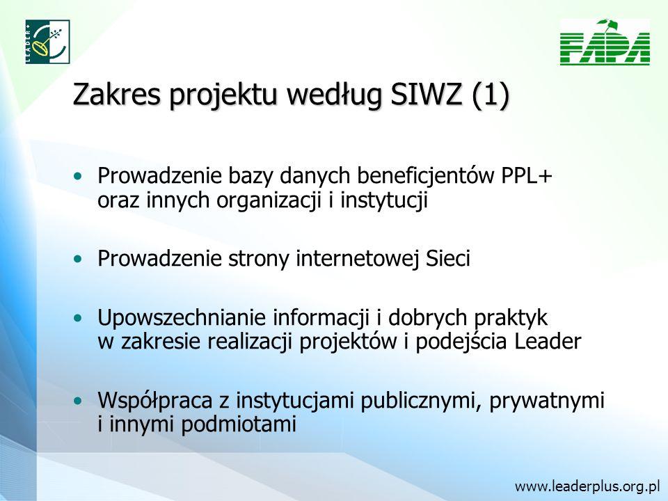 Zakres projektu według SIWZ (1) Prowadzenie bazy danych beneficjentów PPL+ oraz innych organizacji i instytucji Prowadzenie strony internetowej Sieci