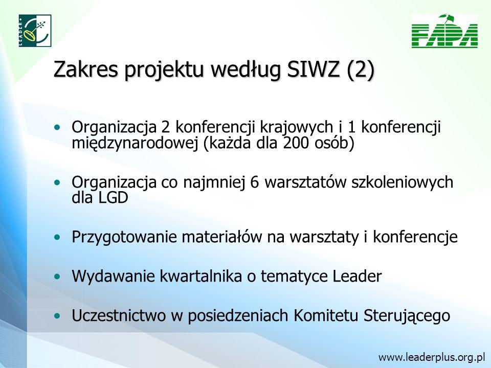 Zakres projektu według SIWZ (2) Organizacja 2 konferencji krajowych i 1 konferencji międzynarodowej (każda dla 200 osób) Organizacja co najmniej 6 war