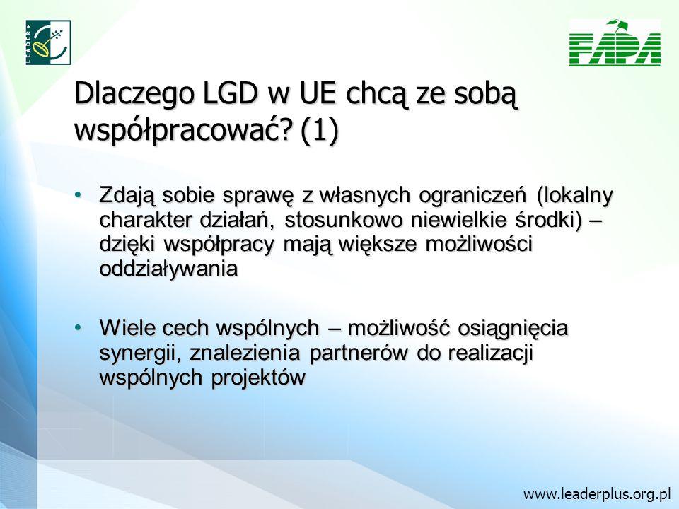 Dlaczego LGD w UE chcą ze sobą współpracować? (1) Zdają sobie sprawę z własnych ograniczeń (lokalny charakter działań, stosunkowo niewielkie środki) –