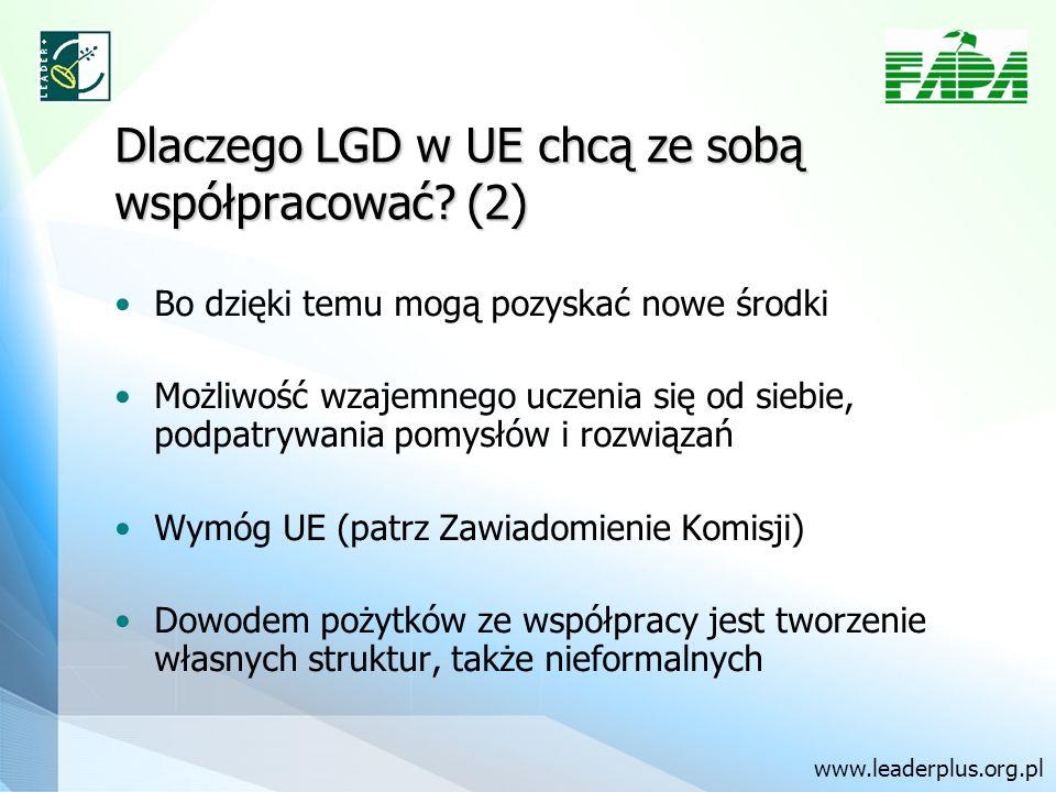 Dlaczego LGD w UE chcą ze sobą współpracować? (2) Bo dzięki temu mogą pozyskać nowe środki Możliwość wzajemnego uczenia się od siebie, podpatrywania p
