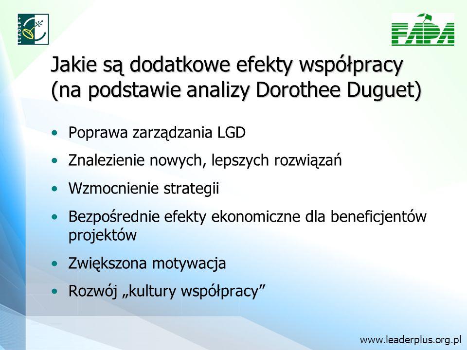 Jakie są dodatkowe efekty współpracy (na podstawie analizy Dorothee Duguet) Poprawa zarządzania LGD Znalezienie nowych, lepszych rozwiązań Wzmocnienie strategii Bezpośrednie efekty ekonomiczne dla beneficjentów projektów Zwiększona motywacja Rozwój kultury współpracy www.leaderplus.org.pl