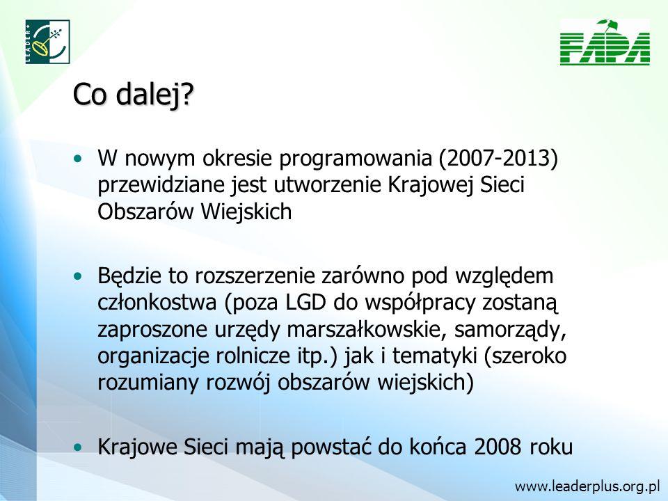 Co dalej? W nowym okresie programowania (2007-2013) przewidziane jest utworzenie Krajowej Sieci Obszarów Wiejskich Będzie to rozszerzenie zarówno pod