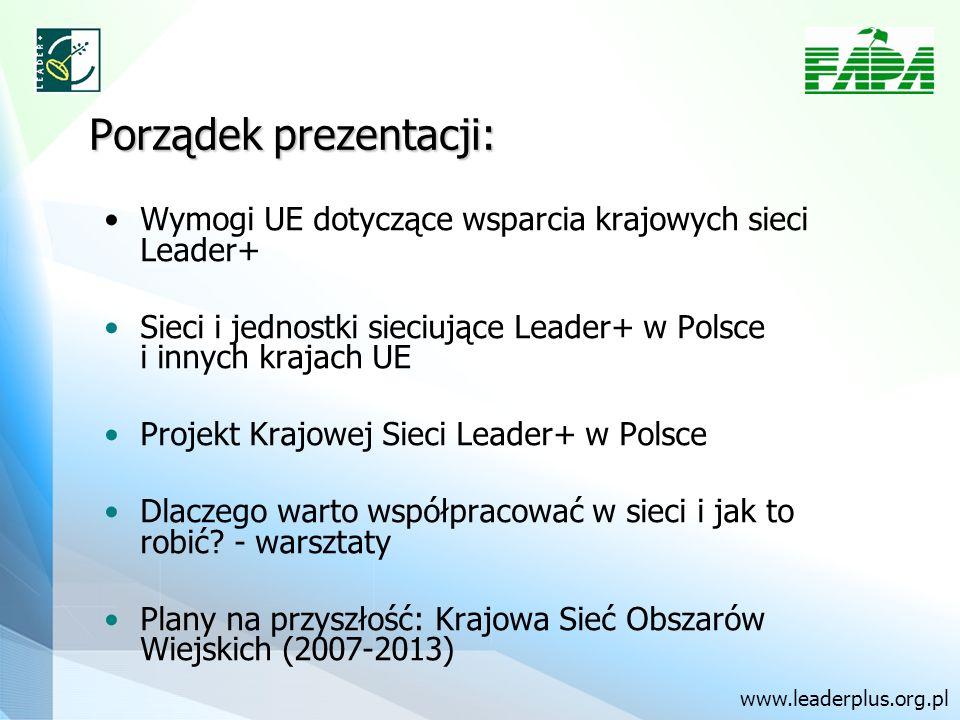 Porządek prezentacji: Wymogi UE dotyczące wsparcia krajowych sieci Leader+ Sieci i jednostki sieciujące Leader+ w Polsce i innych krajach UE Projekt Krajowej Sieci Leader+ w Polsce Dlaczego warto współpracować w sieci i jak to robić.