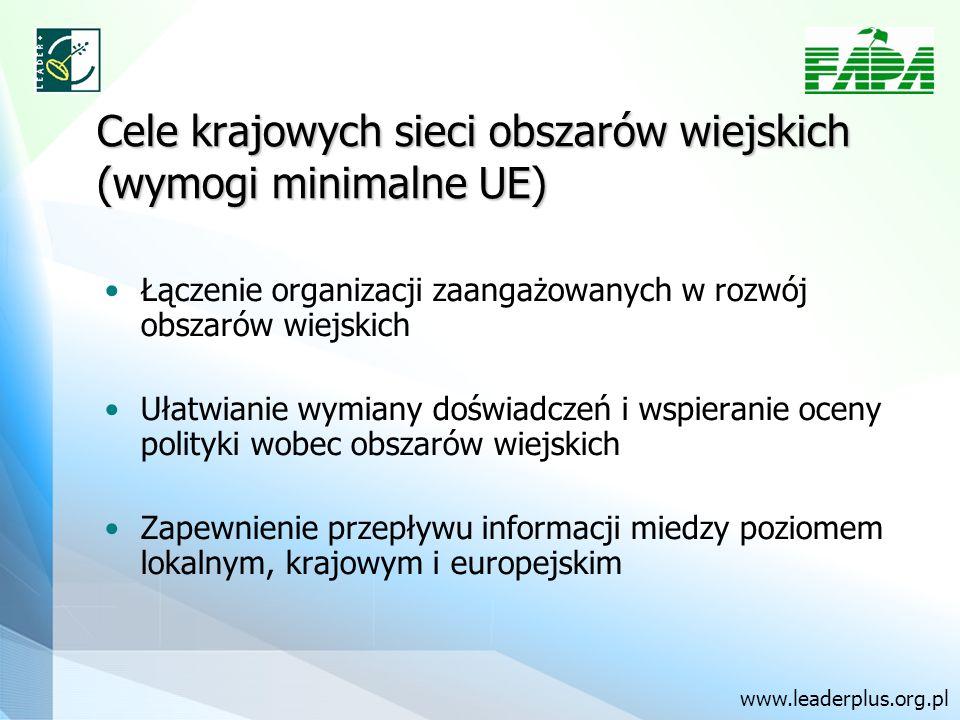 Cele krajowych sieci obszarów wiejskich (wymogi minimalne UE) Łączenie organizacji zaangażowanych w rozwój obszarów wiejskich Ułatwianie wymiany doświadczeń i wspieranie oceny polityki wobec obszarów wiejskich Zapewnienie przepływu informacji miedzy poziomem lokalnym, krajowym i europejskim www.leaderplus.org.pl