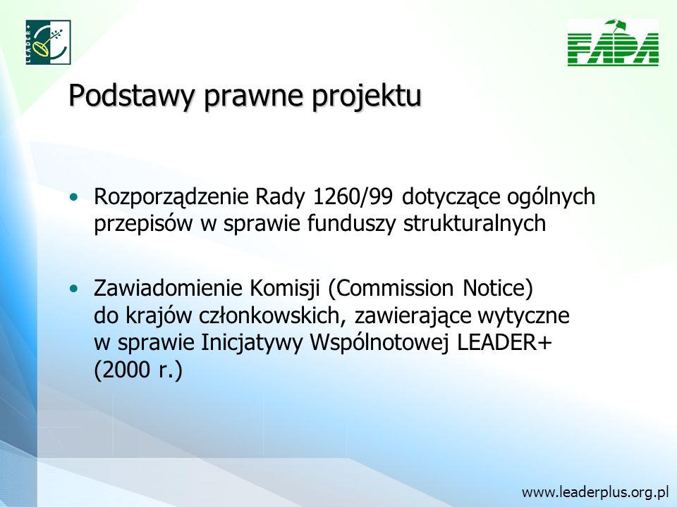 Podstawy prawne projektu Rozporządzenie Rady 1260/99 dotyczące ogólnych przepisów w sprawie funduszy strukturalnych Zawiadomienie Komisji (Commission Notice) do krajów członkowskich, zawierające wytyczne w sprawie Inicjatywy Wspólnotowej LEADER+ (2000 r.) www.leaderplus.org.pl