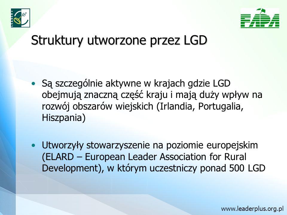 Struktury utworzone przez LGD Są szczególnie aktywne w krajach gdzie LGD obejmują znaczną część kraju i mają duży wpływ na rozwój obszarów wiejskich (Irlandia, Portugalia, Hiszpania) Utworzyły stowarzyszenie na poziomie europejskim (ELARD – European Leader Association for Rural Development), w którym uczestniczy ponad 500 LGD www.leaderplus.org.pl