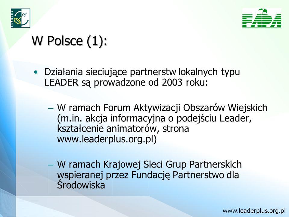 W Polsce (1): Działania sieciujące partnerstw lokalnych typu LEADER są prowadzone od 2003 roku: – W ramach Forum Aktywizacji Obszarów Wiejskich (m.in.