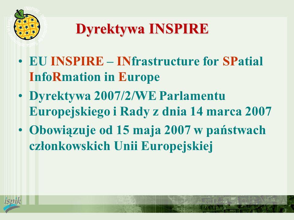 Dyrektywa INSPIRE EU INSPIRE – INfrastructure for SPatial InfoRmation in Europe Dyrektywa 2007/2/WE Parlamentu Europejskiego i Rady z dnia 14 marca 20