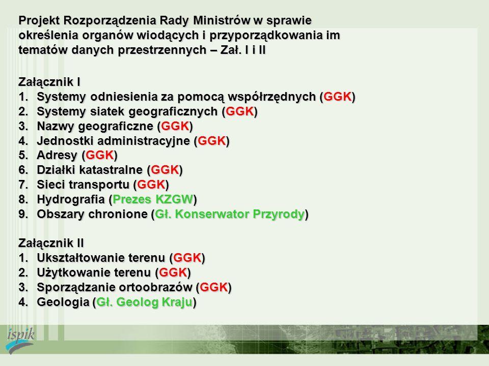 Projekt Rozporządzenia Rady Ministrów w sprawie określenia organów wiodących i przyporządkowania im tematów danych przestrzennych – Zał. I i II Załącz