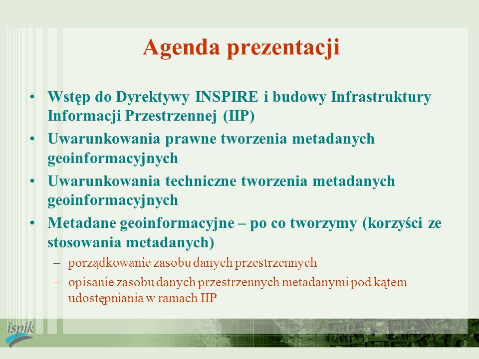 Agenda prezentacji Wstęp do Dyrektywy INSPIRE i budowy Infrastruktury Informacji Przestrzennej (IIP) Uwarunkowania prawne tworzenia metadanych geoinfo