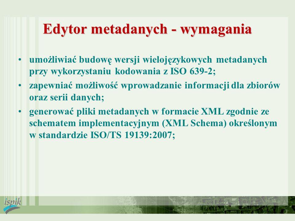 Edytor metadanych - wymagania umożliwiać budowę wersji wielojęzykowych metadanych przy wykorzystaniu kodowania z ISO 639-2; zapewniać możliwość wprowa