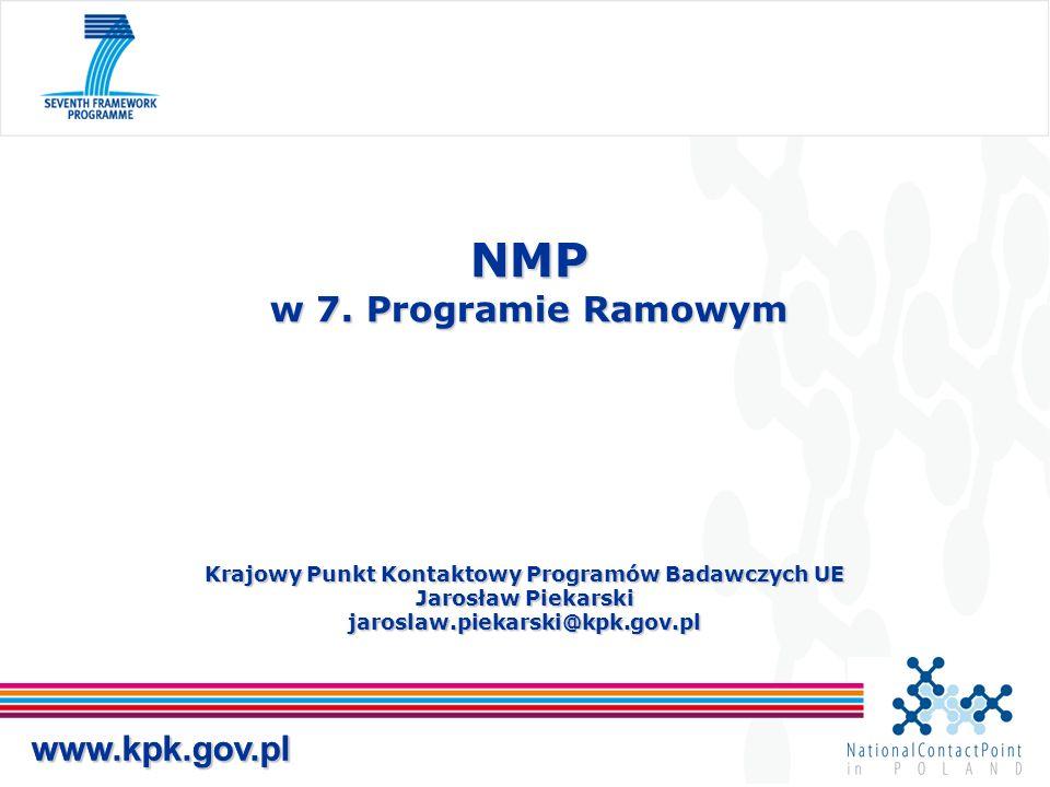 www.kpk.gov.pl Krajowy Punkt Kontaktowy Programów Badawczych UE Jarosław Piekarski jaroslaw.piekarski@kpk.gov.pl NMP w 7. Programie Ramowym www.kpk.go