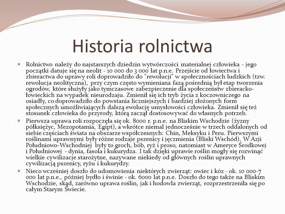 Historia rolnictwa Rolnictwo należy do najstarszych dziedzin wytwórczości materialnej człowieka - jego początki datuje się na neolit - 10 000 do 3 000
