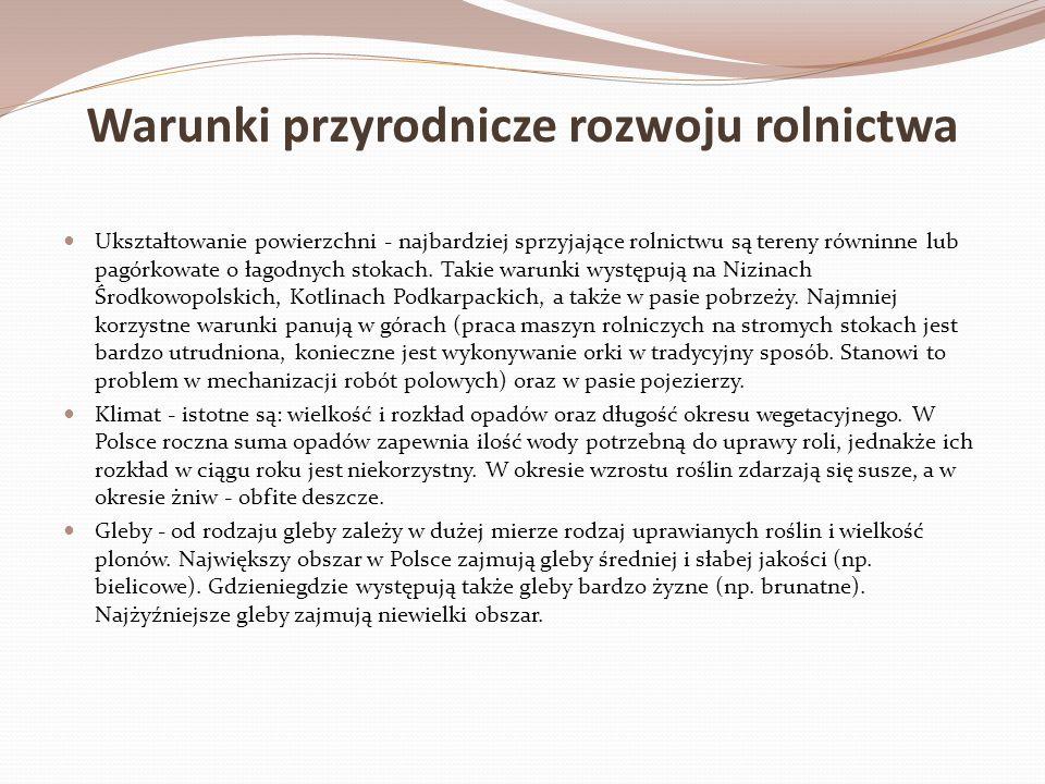 Warunki poza przyrodnicze rozwoju rolnictwa Struktura wielkości gospodarstw rolnych - większość gospodarstw rolnych w Polsce nie przekracza 5 ha, więc nie przynoszą dużych zysków.