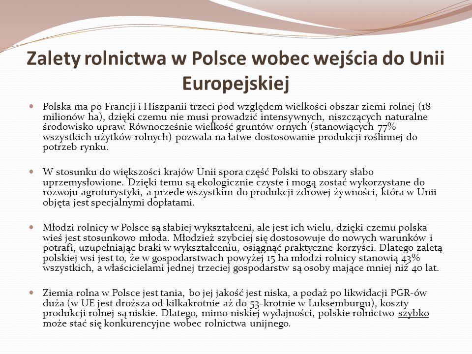 Zalety rolnictwa w Polsce wobec wejścia do Unii Europejskiej Polska ma po Francji i Hiszpanii trzeci pod względem wielkości obszar ziemi rolnej (18 mi