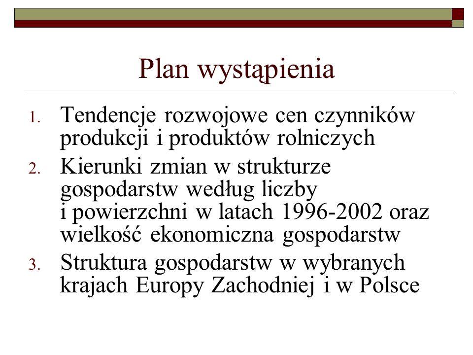 Plan wystąpienia 1.Tendencje rozwojowe cen czynników produkcji i produktów rolniczych 2.