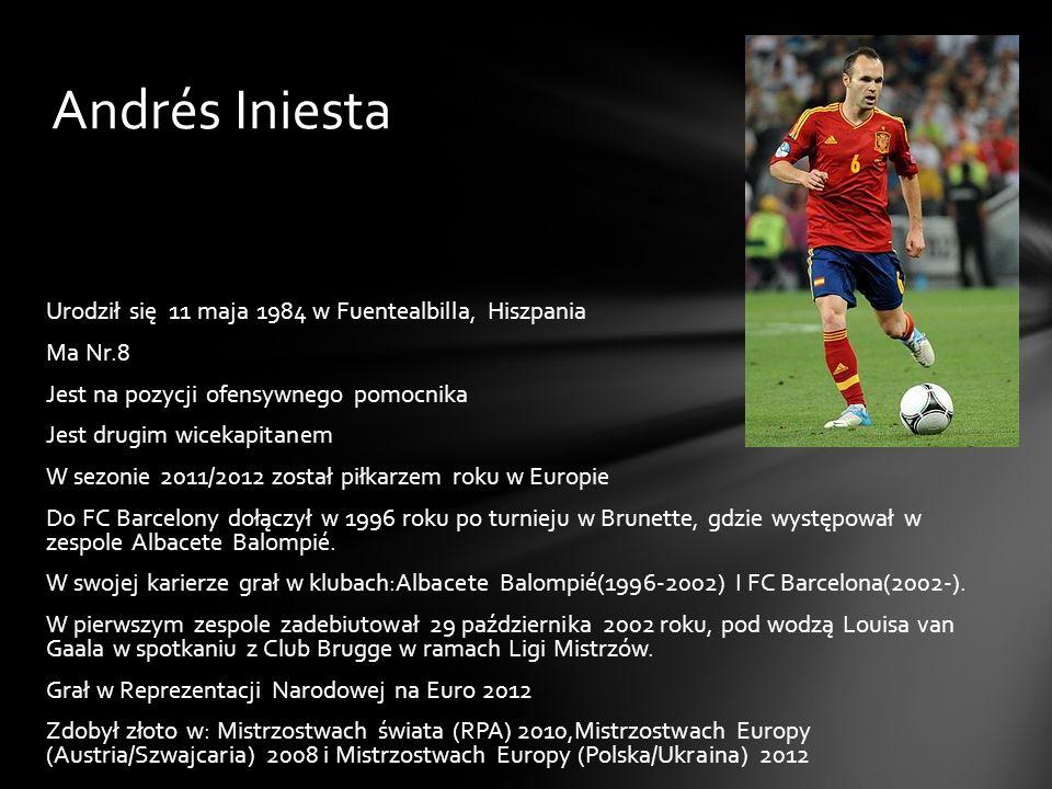 Andrés Iniesta Urodził się 11 maja 1984 w Fuentealbilla, Hiszpania Ma Nr.8 Jest na pozycji ofensywnego pomocnika Jest drugim wicekapitanem W sezonie 2