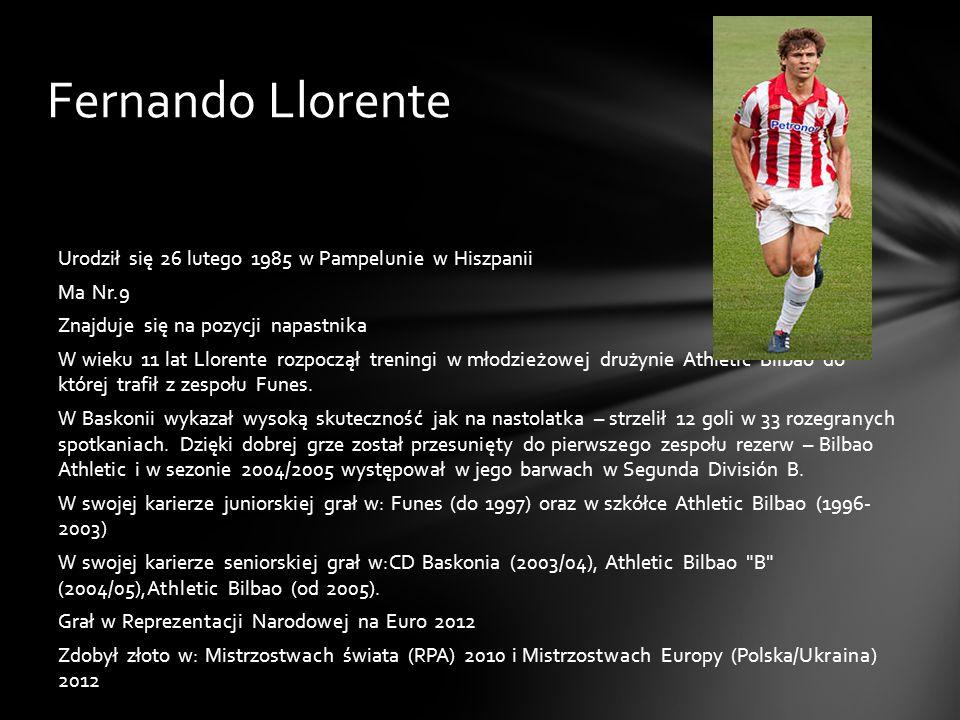 Fernando Llorente Urodził się 26 lutego 1985 w Pampelunie w Hiszpanii Ma Nr.9 Znajduje się na pozycji napastnika W wieku 11 lat Llorente rozpoczął tre